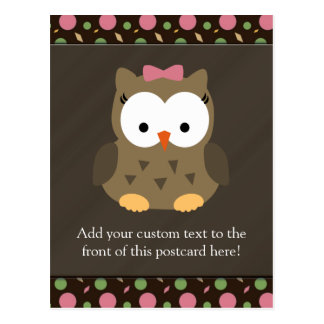 Cute Baby Girl Owl with Pink Bow Postcard
