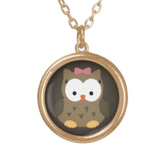 Cute Baby Girl Owl with Pink Bow Round Pendant Necklace