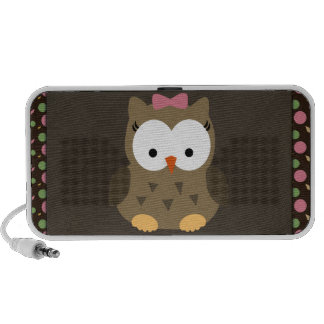 Cute Baby Girl Owl with Pink Bow Laptop Speaker