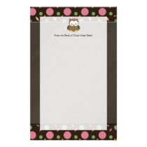 Cute Baby Girl Owl with Pink Bow Stationery