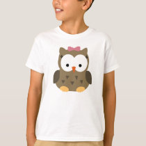 Cute Baby Girl Owl with Pink Bow T-Shirt