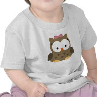 Cute Baby Girl Owl with Pink Bow Tee Shirts