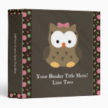 Cute Baby Girl Owl with Pink Bow Vinyl Binder
