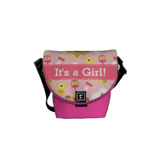 Cute Baby Girl Pattern, For New Mothers Messenger Bags