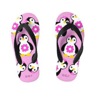 Cute Baby Girl Penguins with Pink Flowers Kid's Flip Flops