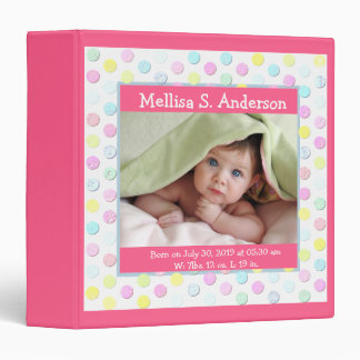 Cute Baby Girl Personalized Photo Birth Record 3 Ring Binders
