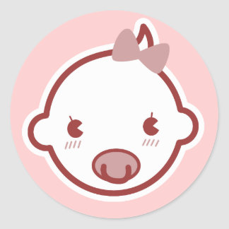 Cute Baby Girl Pink Baby Shower Classic Round Sticker