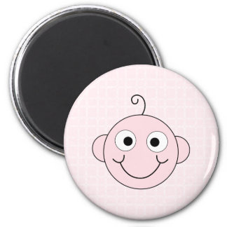 Cute Baby Girl. Pink Check Background. Magnet