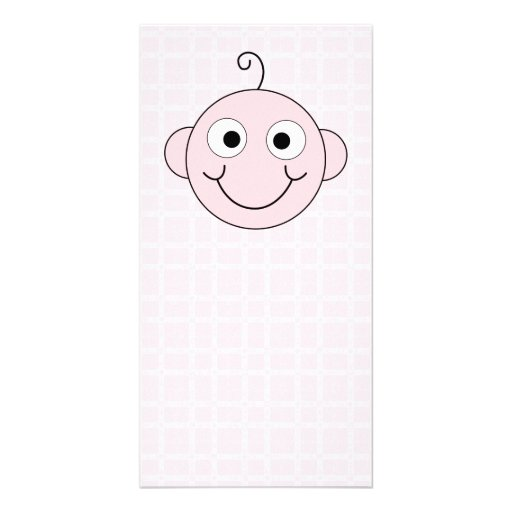 Cute Baby Girl. Pink Check Background. Photo Card