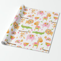 Cute Baby Girl Pink Jungle Animal Wrapping Paper