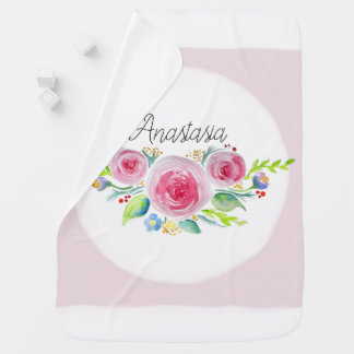 Cute Baby Girl Pink Watercolor Flowers with Name Swaddle Blanket