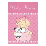 """Cute Baby Girl & Puppy Pink Baby Shower 5"""" X 7"""" Invitation Card"""
