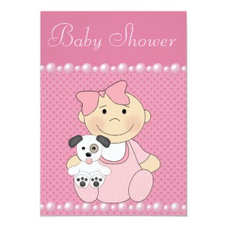 Cute Baby Girl & Puppy Pink Baby Shower Invitation