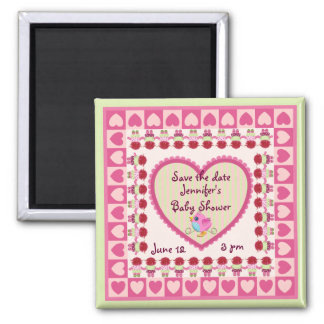 Cute Baby (girl) Save the date Baby shower magnet
