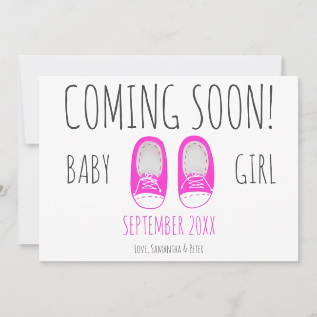 Cute baby girl shoes coming soon blue pregnancy announcement