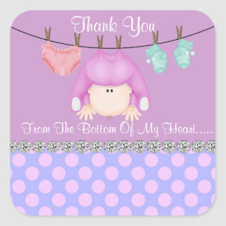 CUTE BABY GIRL SHOWER FAVOR STICKERS