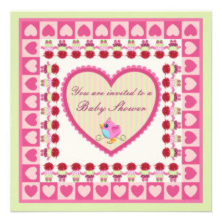 Cute Baby girl shower invitation card