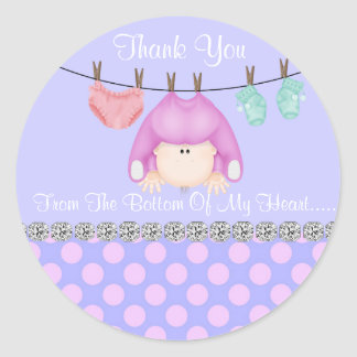 CUTE BABY GIRL SHOWER THANK YOU FAVOR STICKERS