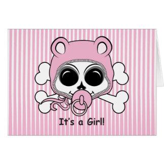 Cute Baby Girl Skull Card