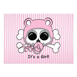 Cute Baby Girl Skull Custom Announcement