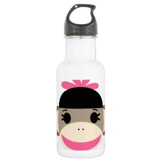 Cute Baby Girl Sock Monkey Black Pink Stripes 18oz Water Bottle