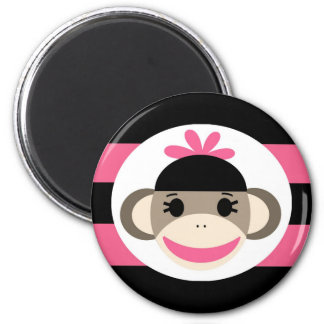 Cute Baby Girl Sock Monkey Black Pink Stripes 2 Inch Round Magnet