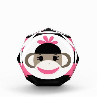 Cute Baby Girl Sock Monkey Black Pink Stripes Awards
