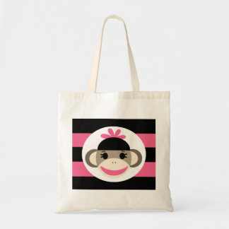 Cute Baby Girl Sock Monkey Black Pink Stripes Canvas Bags