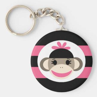 Cute Baby Girl Sock Monkey Black Pink Stripes Basic Round Button Keychain