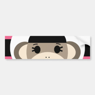 Cute Baby Girl Sock Monkey Black Pink Stripes Bumper Sticker