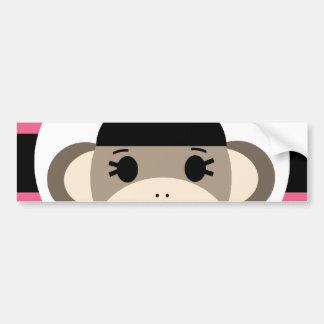 Cute Baby Girl Sock Monkey Black Pink Stripes Bumper Stickers