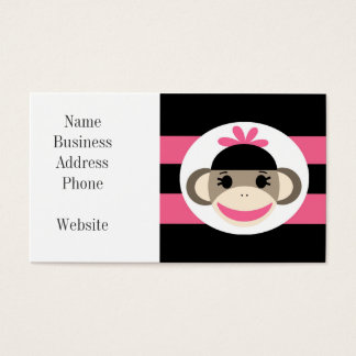 Cute Baby Girl Sock Monkey Black Pink Stripes Business Card