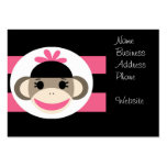 Cute Baby Girl Sock Monkey Black Pink Stripes Business Card Templates