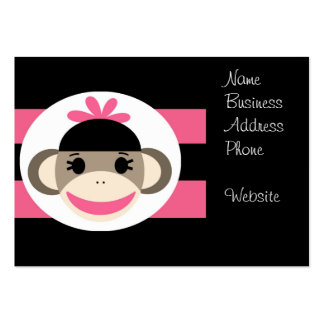 Cute Baby Girl Sock Monkey Black Pink Stripes Large Business Cards (Pack Of 100)