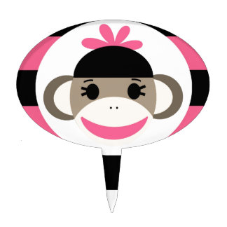 Cute Baby Girl Sock Monkey Black Pink Stripes Cake Topper