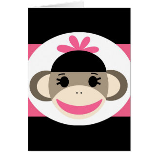 Cute Baby Girl Sock Monkey Black Pink Stripes Greeting Card