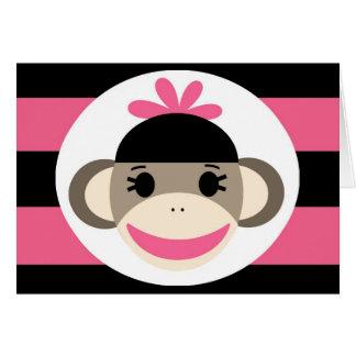 Cute Baby Girl Sock Monkey Black Pink Stripes Card