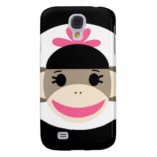 Cute Baby Girl Sock Monkey Black Pink Stripes Galaxy S4 Cases