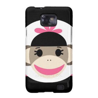 Cute Baby Girl Sock Monkey Black Pink Stripes Galaxy SII Cases