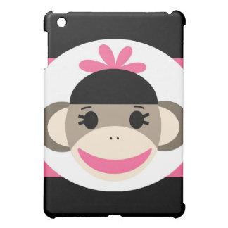 Cute Baby Girl Sock Monkey Black Pink Stripes Case For The iPad Mini
