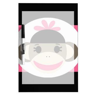 Cute Baby Girl Sock Monkey Black Pink Stripes Dry-Erase Board