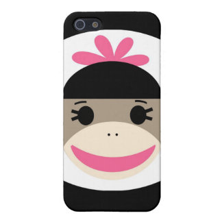 Cute Baby Girl Sock Monkey Black Pink Stripes Covers For iPhone 5