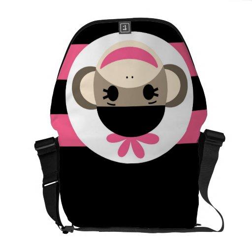 Cute Baby Girl Sock Monkey Black Pink Stripes Courier Bag