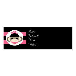 Cute Baby Girl Sock Monkey Black Pink Stripes Mini Business Card