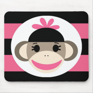 Cute Baby Girl Sock Monkey Black Pink Stripes Mouse Pad