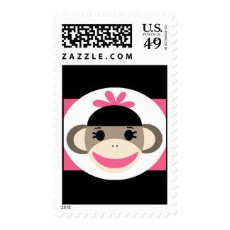 Cute Baby Girl Sock Monkey Black Pink Stripes Postage Stamps