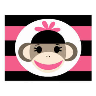 Cute Baby Girl Sock Monkey Black Pink Stripes Postcard