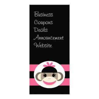 Cute Baby Girl Sock Monkey Black Pink Stripes Rack Card