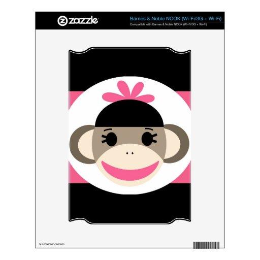 Cute Baby Girl Sock Monkey Black Pink Stripes NOOK Skins