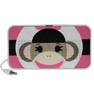 Cute Baby Girl Sock Monkey Black Pink Stripes Speakers